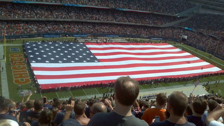 us flag at soldier field